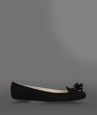 Emporio Armani Suede Ballet Flat With Patent Effect Tassels