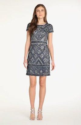 Adrianna Papell Beaded Mesh Sheath Dress