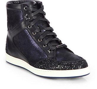 Jimmy Choo Tokyo Glittered-Panel Metallic Leather Sneakers