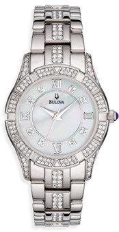Bulova Women's Crystal Bracelet Mother-of-Pearl Silver Watch