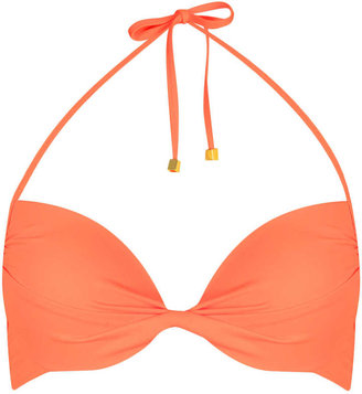 Sorbet Orange Basic Plunge Bikini Top