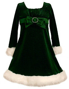 Bonnie Jean Girls' 4-6X Green Santa Dress