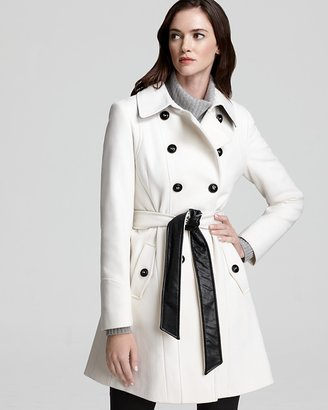 DKNY Double Breasted Coat with Two Tone Belt