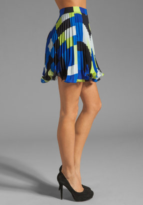 Milly Rectangle Print Flared Skirt