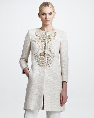 Etro Embroidered Tweed Coat, Beige