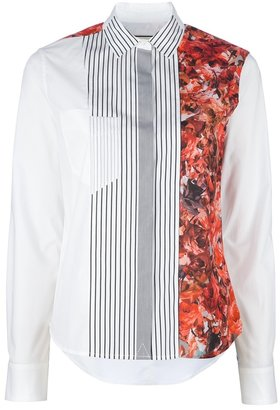 Paul Smith floral stripe panel shirt