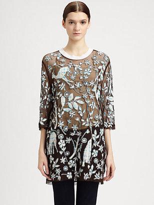 3.1 Phillip Lim Overexposed Sheer Applique Shirt