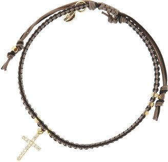Tai 2-Tone Silk Cord Cross Bracelet, Gray/Black