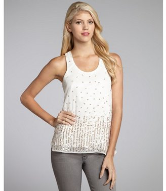 Romeo & Juliet Couture ivory semi-sheer sequined woven tank blouse