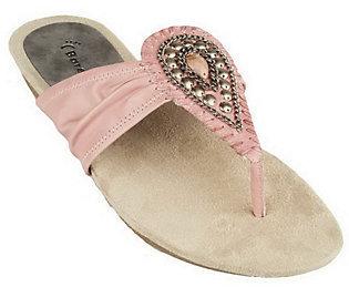 BareTraps Leather Thong Sandals w/ Stone & Chain Detail $57 thestylecure.com