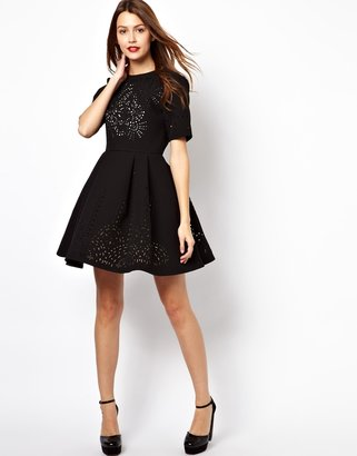 Asos Extreme Skater Dress With Laser Cut Outs