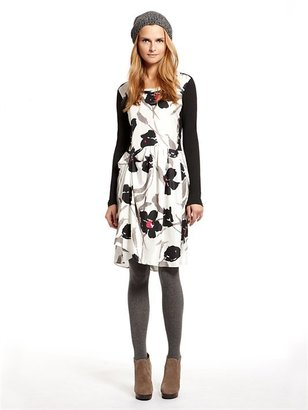 DKNY Winter Lilly Print Silk Twill L/S Scoopneck Dress W/ Tuck Waist Detail