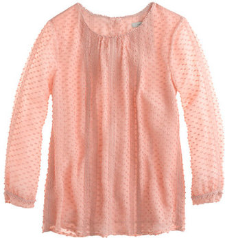 J.Crew Petite lace-trim swiss-dot top