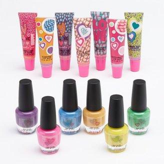 Girls run the world lip gloss & neon nail polish set