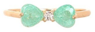 Gold & Mint Gemstone Bow Ring