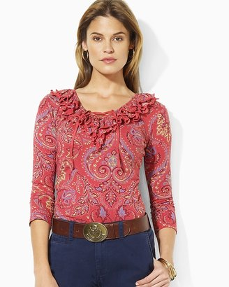 Lauren Ralph Lauren Lauren by Ralph Lauren Emoly Ruffle Lace Up Top