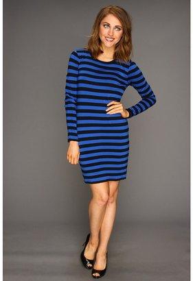 MICHAEL Michael Kors Petite Carnaby Stripe L/S Crew Dress (Urban Blue/Black) - Apparel