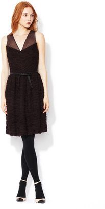 Robert Rodriguez Crinkle Silk Chiffon Belted Dress