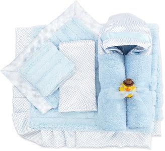 Swankie Blankie Swiss Dot & Stripe Receiving Blanket, Blue