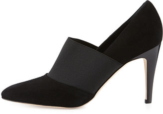 Manolo Blahnik Zarle Stretch Suede Ankle Boot