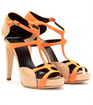 Pierre Hardy NEON AND PATENT LEATHER PLATFORM SANDALS