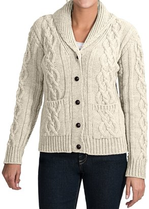 J.G. Glover & CO. Peregrine by J.G. Glover Aran Shawl Collar Cardigan Sweater - Peruvian Merino Wool (For Women) $99.99 thestylecure.com