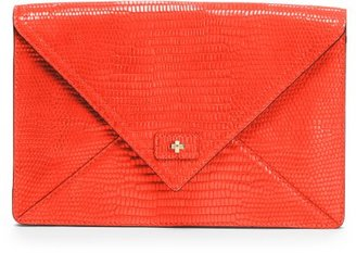Milly Leather Bag - Tangerine Adriana Collection Envelope Clutch