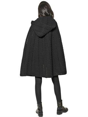 Saint Laurent Virgin Wool Crochet Cape
