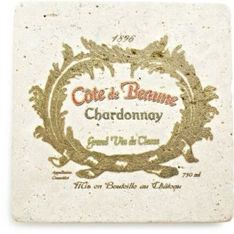 Sur La Table Travertine Chardonnay Wine Label Coaster