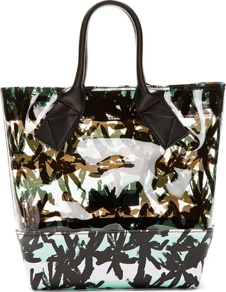 Kenzo Black Calfskin & Transparent Vinyl Small Tote