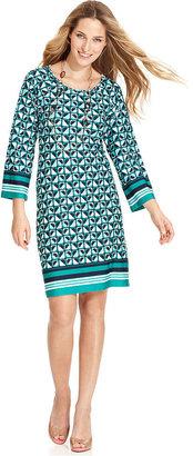 NY Collection Dress, Three-Quarter-Sleeve Printed Shift