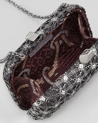 Kotur Margo Deco Brocade Minaudiere, Black/Silver