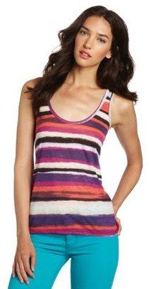 C&C California Women's Watercolor Stripe Slub Jersey Tank Top Tee