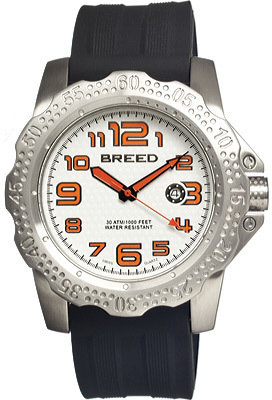 Breed Men's Deep 1902 - Black Silicone/White Analog Watches