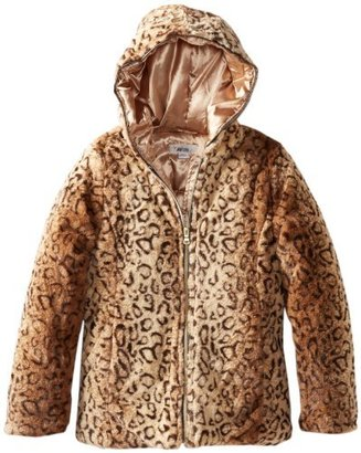 Amy Byer Big Girls' Textured Leopard Faux Fur Hooded Jacket