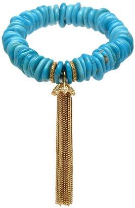 Loree Rodkin Diamond tassel and raw turquoise bead bracelet
