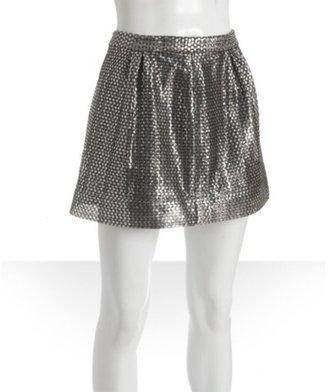 Dallin Chase silver woven metallic 'Francesco' mini skirt