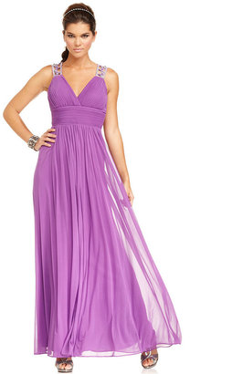 Betsy & Adam Dress, Sleeveless Beaded Pleated Open-Back Gown