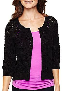 JCPenney a.n.a® 3/4-Sleeve Open Cardigan -Petites