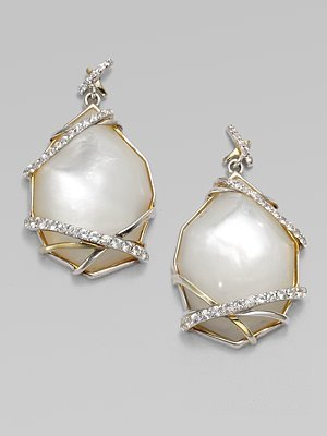 Kara Ross Mother-of-Pearl White Sapphire Drop Earrings