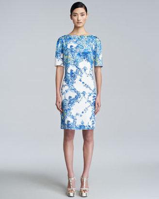 Erdem Bethany Printed Short-Sleeve Dress