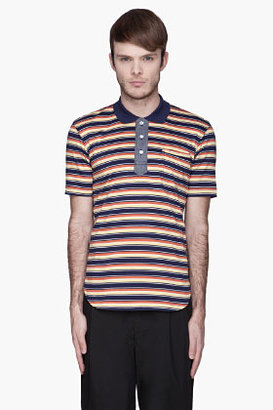 Junya Watanabe Yellow and blue Striped Polo