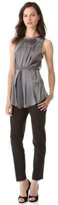 Vera Wang collection Sleeveless Tank with Embroidery Detail