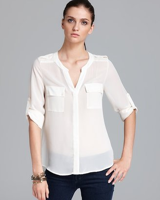 Aqua Blouse - Solid Button Front Pocket