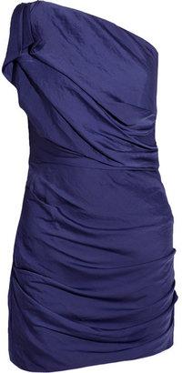 Halston One-shoulder crinkled satin dress