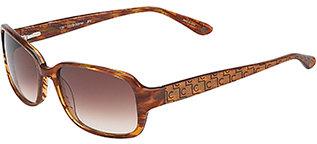 Liz Claiborne Rectangular Frame Sunglasses with Logo Arm - Gold