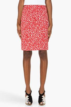 Preen Red leopard print Aurora pencil Skirt