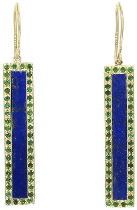 Jennifer Meyer lapis and emerald bar earring