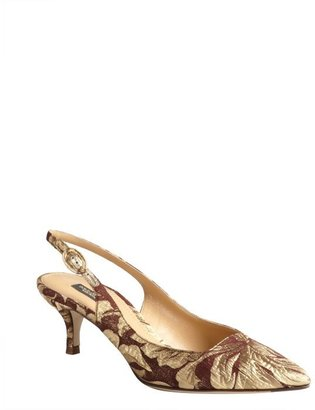 Dolce & Gabbana gold and copper textile slingback pumps