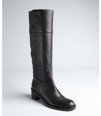 Gucci black pebbled leather stitch detail boots
